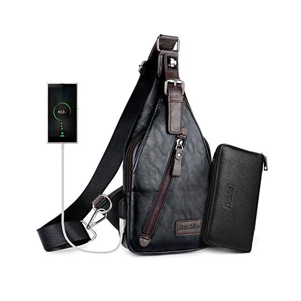 Alena Culian Sling Backpack Men Leather Chest Bag Crossbody Shoulder Bag For Men(black) 14
