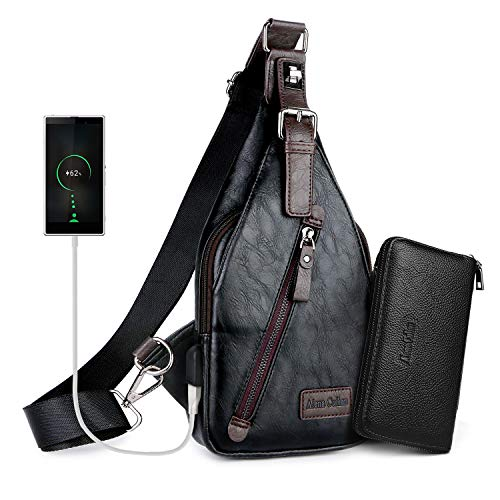 - Alena Culian Sling Backpack Men Leather Chest Bag Crossbody Shoulder Bag For Men(black)