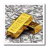 Carsten Reisinger ilustraciones–lingotes de lingotes de oro Bar banco dinero en efectivo Hundred de dólar Bill Bills Nota de billetes Finanzas Concept–Hierro Sobre transferencias de calor, 6 - pulgadas