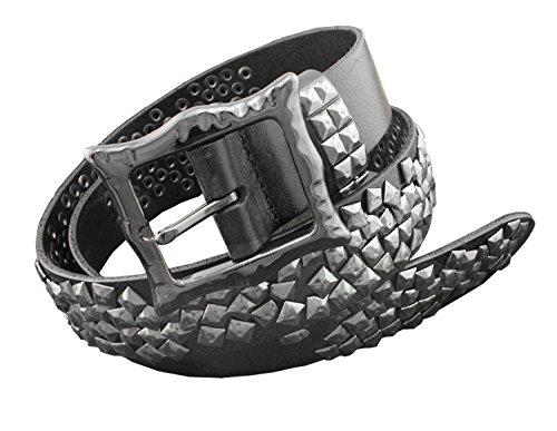 [Mens Biker Rock Emo Metal Stud Studded Heavy Duty Real Leather Belt Black] (Emo Belt)