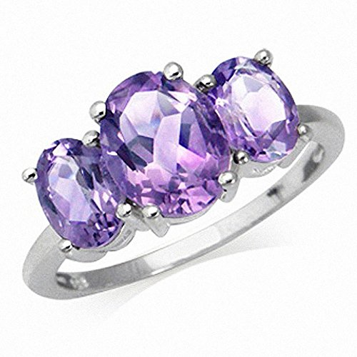 3.17ct. 3-Stone Natural Oval Shape Amethyst 925 Sterling Silver Ring (6)