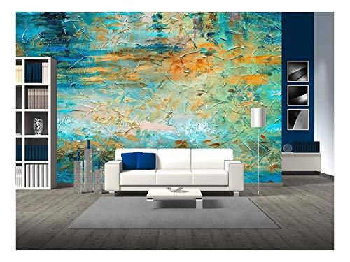 wall26 - Abstract Oil Paint Texture on Canvas - Removable Wall Mural | Self-Adhesive Large Wallpaper - 100x144 inches