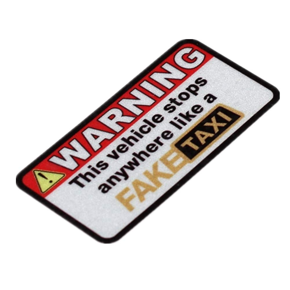 Langersun 4PCS Car Sticker Funny Fake Taxi Warning Stops Anywhere Motorcycle Bike Bumpers Vinyl Tape 7x3.6cm