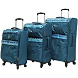 Lucas Luggage Ultra Lightweight 3 Piece Expandable Suitcase Set With Spinner Wheels (One Size, Teal)