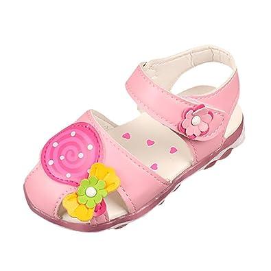 wuayi Cute Kids Children Sandals Lollipop Flower Girls Flat Sole Pricness  Shoes (1.5-2Years e59a1e321ddd