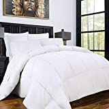 Zen Bamboo Luxury Goose Down Alternative Comforter - All Season Hotel Quality Hypoallergenic Duvet Insert with Cooling Bamboo Blend Fabric - Full/Queen - White