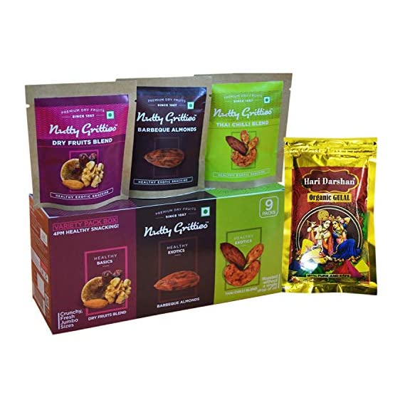 Nutty Gritties Variety 4PM Healthy Snacks Holi Gift Box|Pack||Hampers|Items of 3 Flavours (3 Packs Each) with Organic Herbal Gulal, 307g
