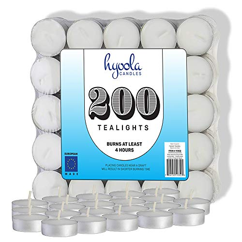 Hyoola Tea Lights Candles - 200 Bulk Candles Pack - European Quality White Unscented Tealight Candles - 4 Hour Burn Time