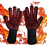 Link Cosmos Heat Resistant BBQ Grill Gloves for Cooking Baking Boiling Hot Oven Gloves Hot Food Handling High Heat 932°F Fireproof Long Cuff Oven Mitts Pot Holder Forearm Protection Red (1 Pair)