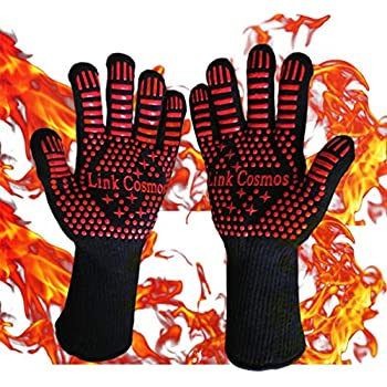 YinkYang Heat Resistant BBQ Oven Grill Gloves for Cooking Baking Boiling Hot Food Handling High Heat 1472°F Fireproof Long Cuff Pot Holder Forearm Protection...