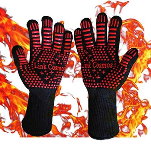 Heat Resistant BBQ Oven Grill Gloves for Cooking Baking Boiling Hot Food Handling High Heat 932°F Fireproof Long Cuff Pot Holder Forearm Protection