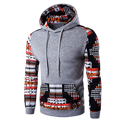 YOcheerful Mens Hooded Pullover Sweatshirt Sportswear Hoodie with Pocket Long Sleeve Tops Blouse Sport Pullover (Gray,US-L/Label-XL)