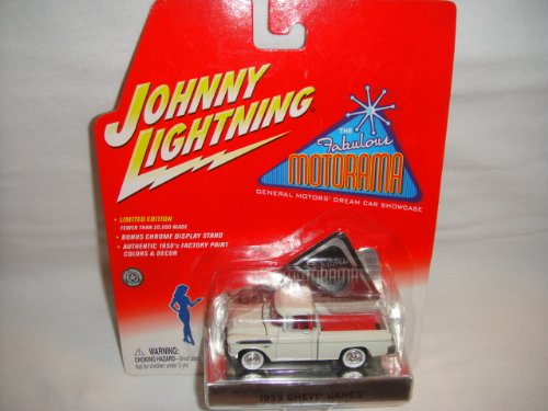 JOHNNY LIGHTNING 1:64 SCALE FABULOUS MOTORAMA SHOWCASE WHITE 1955 CHEVY CAMEO PICK-UP TRUCK DIE-CAST COLLECTIBLE (Pickup Chevy Truck Cameo)