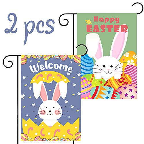 WATINC 2Pcs Happy Easter Garden Flag and Double Sided Welcome House Flag with Rabbit and Eggs, Indoor Polyester Party Decor Flags for Celebration, Festival Home Outdoor Flag Garden 12.4 x - Easter Flag Banner