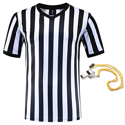 (Shinestone Referee Shirts, Men's Basketball Football Soccer Sports Referee Umpire Shirt Referee Shirt Jersey Costume Short Sleeves, Perfect for Outdoor Sports (V-Neck, XX-Large))