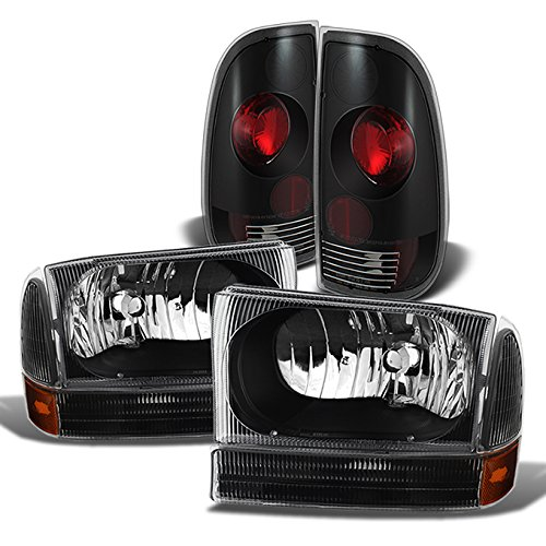 For 1999-2004 Ford F250 F350 | 1999-2003 F450 F550 Super Duty Style Side Black Headlights + Tail Lights ()