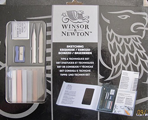 (WINSOR & NEWTON 13 Pieces Sketching Tips & Techniques Set w 6 Sketching Crayons, 2B Charcoal Pencil, 2B Black Pencil, 2 TORTILONS, Kneaded Putty Eraser, Metal Sharpener & Wire Bound)