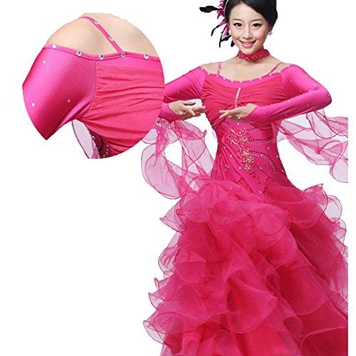Tracolla M Donne Prestazione Lunga m Ballo Costume Wqwlf Per Competizione Nazionali Abiti Da Valzer D Moderno Manica X186S