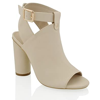 ebf2286ba9e8 ESSEX GLAM Womens Block High Heel Ankle Strap Sandals Ladies Peep Toe Cut  Out Open Back Courts Shoes Booties  Amazon.co.uk  Shoes   Bags