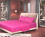 Tache 4 Piece Solid Hot Rose Neon Pink Bed Sheet Set, King