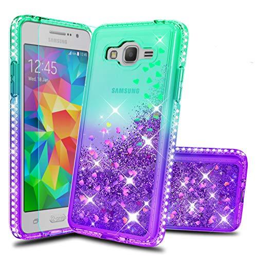 Atump Galaxy Grand Prime Phone Case J2 Prime Cases with HD Screen Protector, Fun Glitter Liquid Diamond Cute TPU Silicone Protective Cover Case for Samsung Galaxy J2 Prime G530 Green/Purple