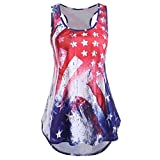 Womens Sexy Plus Size American Flag Star Print Blouse Tank T Shirt Casual Loose Independence Day July 4th Top Clothes (Red, Medium)