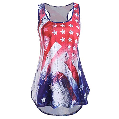 Franterd Women American Flag Print Top for 4th of July Sleeveless Patriotic USA Stripe Star Casual Tee Tank Top Shirt Blouse Red