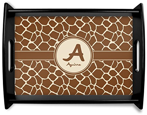 Giraffe Print Black Wooden Tray - Large (Personalized) - Giraffe Tray