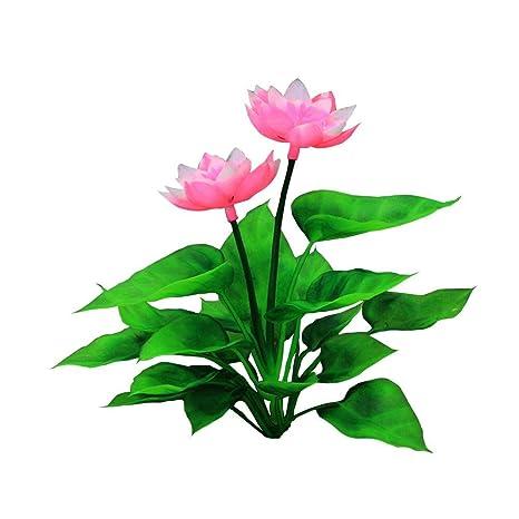 gaeruite - Plantas artificiales acuáticas pequeñas de 15 cm de altura, para acuario, loto