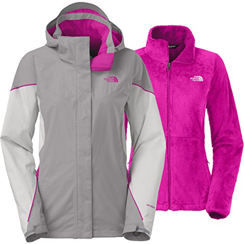 The North Face Fall Jacket - The North Face Women's Boundary Triclimate Jacket Mid Grey/High Rise Grey/Luminous Pink SM