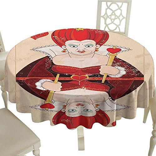(Round Tablecloth spillproof Alice in Wonderland,Queen Cards Playing Alice Character in Fictional Fairy Tale Print,Red Brown Ecru D60,for)