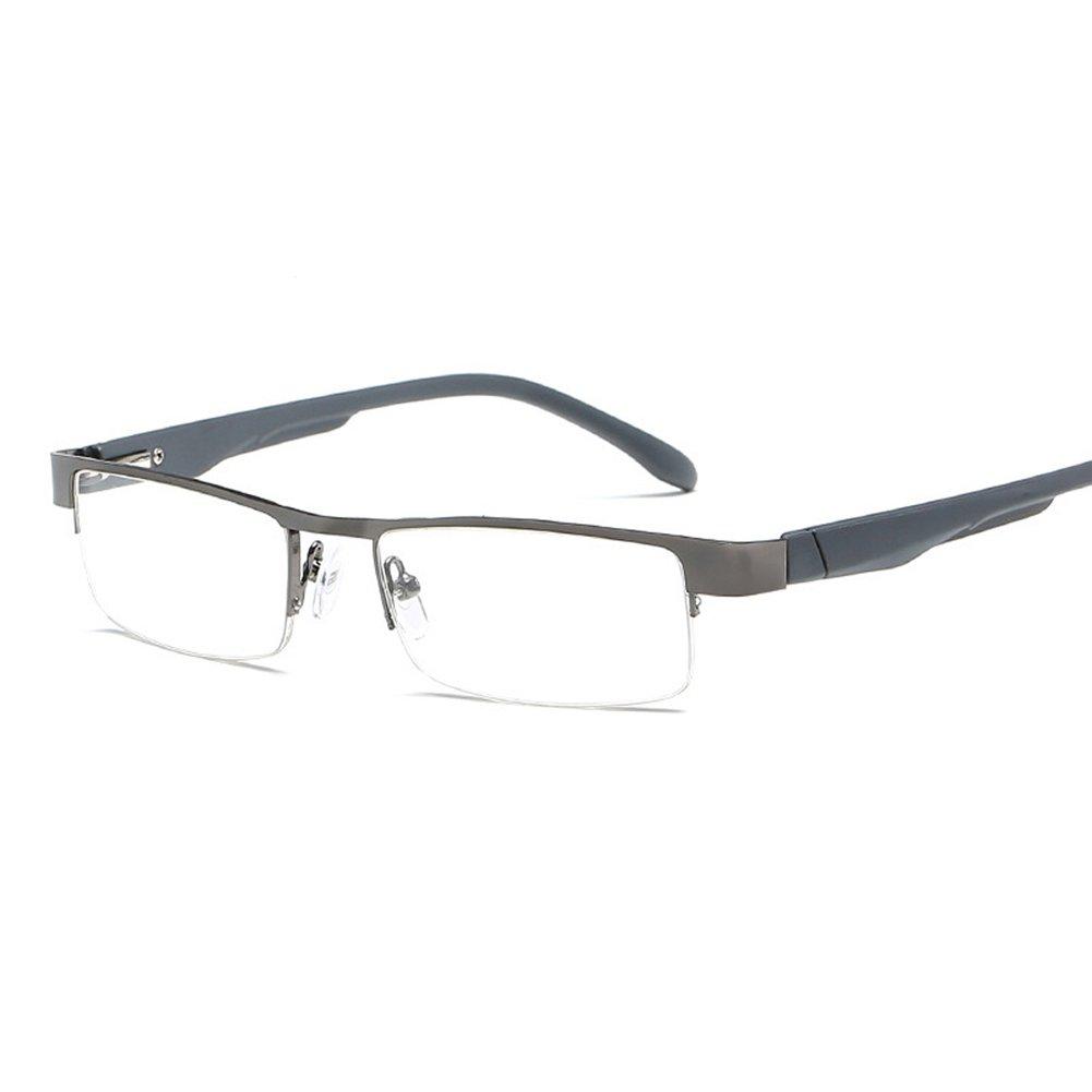 Delaying Lunettes de lecture carré demi-cadre Lunettes de lecture de mode Lunettes en métal Intensité des lunettes: +1, 0 à +4, 0 0 à +4