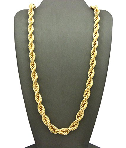 Fashion 21 Hip Hop 80' Unisex Rapper's 8mm, 10mm Various Size Hollow Rope Chain Necklace in Gold, Silver Tone (Gold - 8mm 18