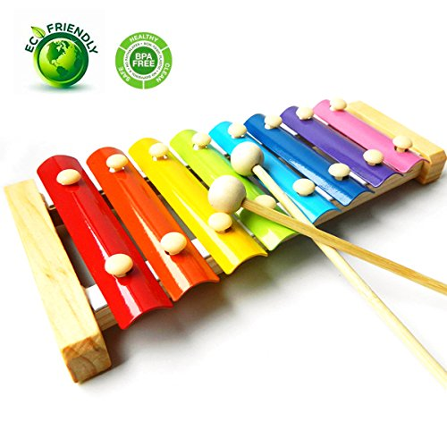 GearRoot Wooden Xylophone Baby Musical Toy Instrument Piano with 8 Colored Metal Key with 2 Child-Safe Mallets for Kids Toddlers (Musical Wooden Xylophone Toy)