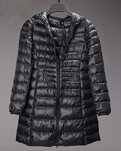 Leggero Piuma Packable Lungo Nero Ultra Invernali Di Cappuccio Con Piumino Giacche Cappotto Donna j54L3AR