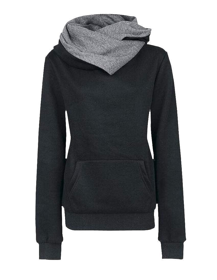 Lutratocro Women Hooded Slim Pocket Lapel Fashion Pullover Sweatshirts