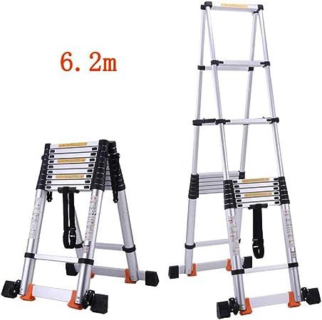 1058 YYHSND Escalera Plegable Fórmula de contracción Familiar Escalera Recta Doble Cara Doble Uso Escalera Ático de ingeniería Espacio Taburete (Size : 6.2m): Amazon.es: Hogar