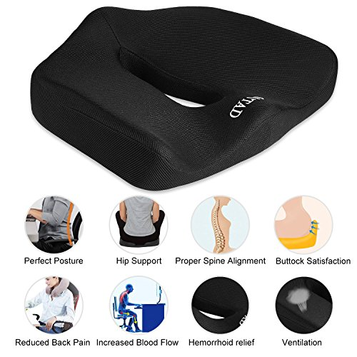 graceu coccyx orthopedic memory foam office chair and car seat cushion for back pain and. Black Bedroom Furniture Sets. Home Design Ideas