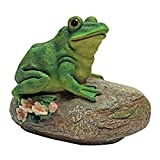 Design Toscano Thurston the Frog Garden Rock Sitting Toad Statue, Multicolored
