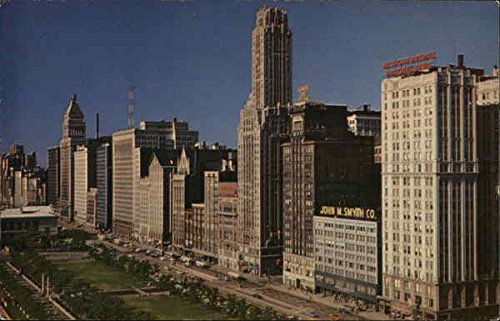 Michigan Avenue Skyline Chicago, Illinois Original Vintage - Michigan Chicago Map Avenue
