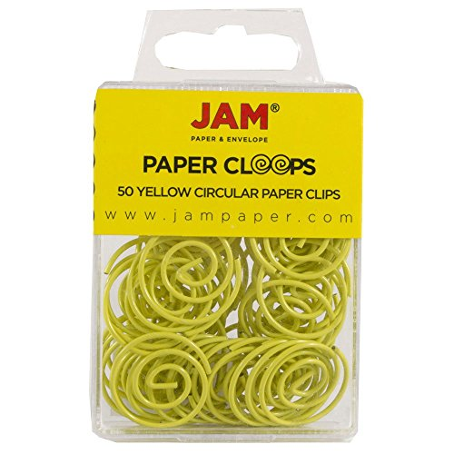 JAM Paper Papercloops - Round Circular Paperclips - Yellow - 50/pack
