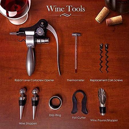 Juego de sacacorchos de vino de acero inoxidable de 9 piezas Set de regalo de cerveza/vino accesorios caja de madera
