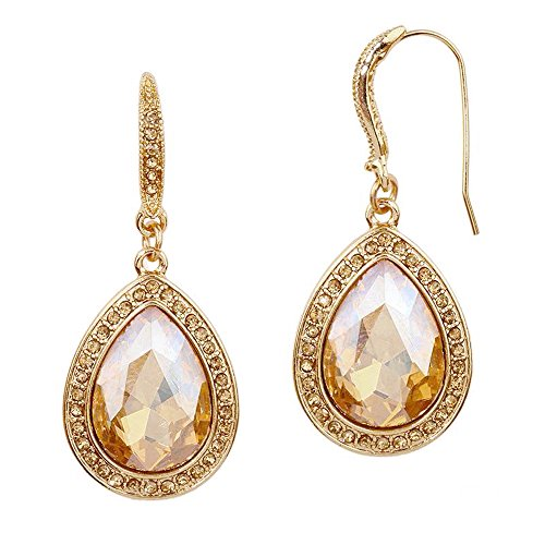Mariell Pear-shape Champagne Gold Light Topaz Austrian Crystal Earrings for Prom, Bridesmaids, Homecoming