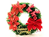 Gelaiken World Christmas Flowers Christmas Wreath Door Hanging Ornaments Room Christmas Tree Pendants for Decoration(Red)