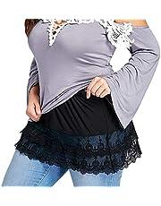 sshybmne Women 's Lace Shirt Extender Layered Fake Top Half Slips Women Mini Skirt Underskirt Plus Size