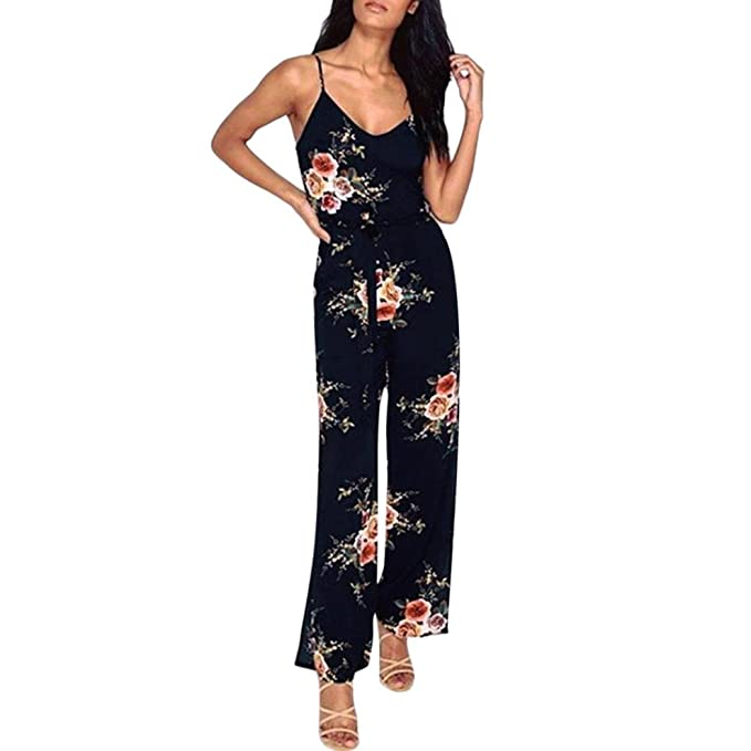 43c22b56830 Women Rompers Leedford Womens Ladies Jumpsuits Spaghetti Strap Backless Floral  Print Wide Leg High Waist Romper