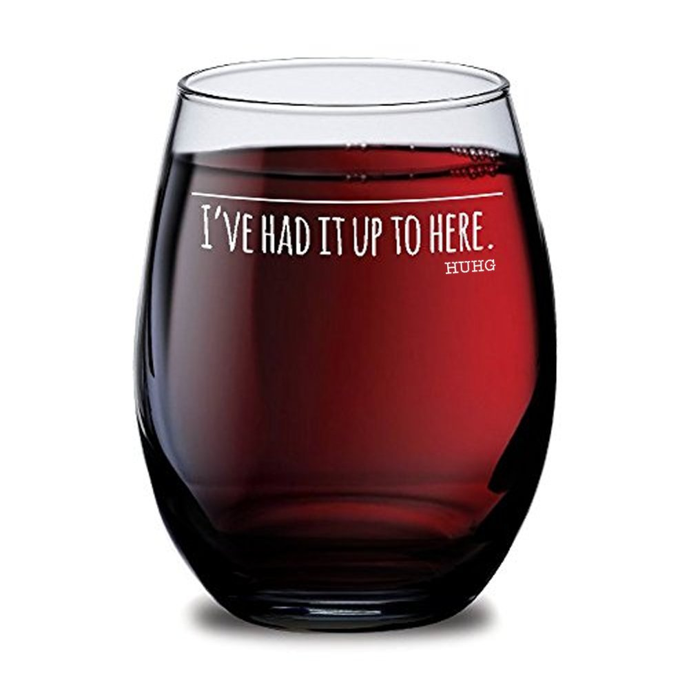 "HUHG ""Don't Speak"" Wine Glass, Funny Wine Glass with Saying,Unique Gift Ideas for Mom, Dad, Grandma or Best Friend from Son, Daughter, Husband, Wife, Personalized Gifts for Him or Her,Cute Wine Glass"
