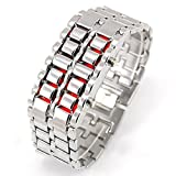 Fanmis Iron Samurai - Japanese Inspired Silver Metal Red LED Light Sport Watches