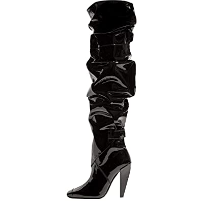 b63cd4d2047 Themost Thigh High Boots Womens Pleat Over The Knee Boot Wide Calf High  Heel Booties Black