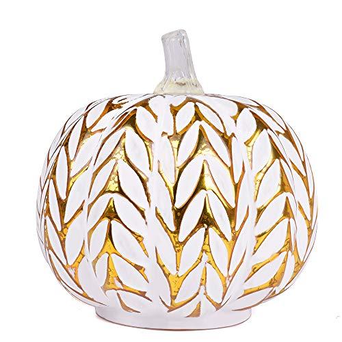 JARVANIA Fall Decor Glass Pumpkins, Halloween Candles LED Fall Decorations, Glass Pumpkins Decorations Made of Mercury, Lanterns Decorative Battery Operated (New Gold)